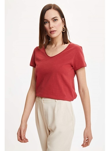 DeFacto V Yakalı Kısa Kollu T-Shirt Kırmızı